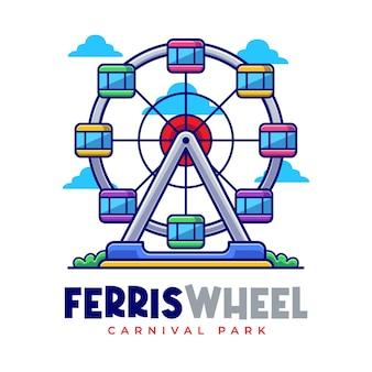Modèle de logo de dessin animé de carnaval de grande roue