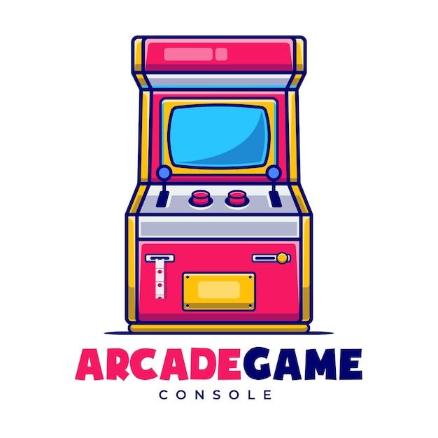Modèle de logo de dessin animé de carnaval de jeu d'arcade