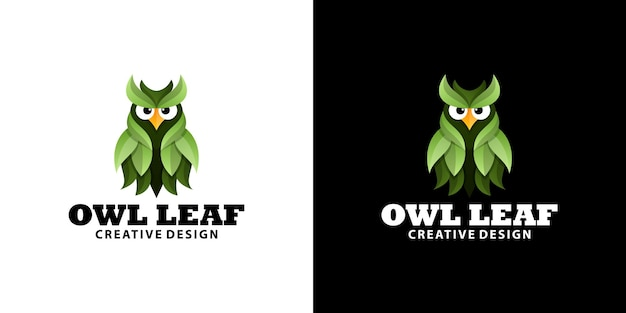 Modèle de logo de dessin animé dégradé feuille chouette verte