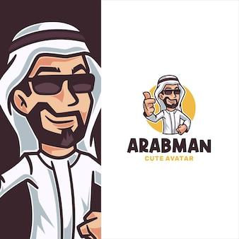 Modèle de logo de dessin animé homme arabe à la recherche cool