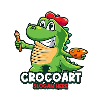 Modèle de logo de dessin animé mascotte crocodile