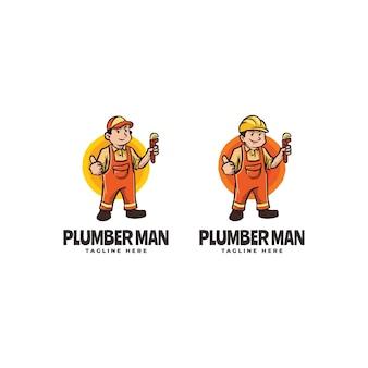 Modèle de logo de dessin animé de mascotte homme génial - modèle de mascotte deux sett