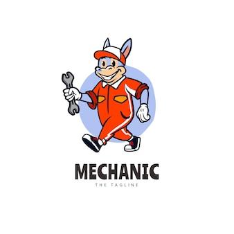 Modèle de logo de dessin animé mascotte mécanicien âne