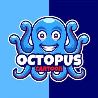 Modèle de logo de dessin animé de mascotte de poulpe