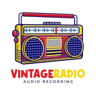 Modèle de logo de dessin animé de mascotte de radio vintage.