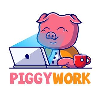 Modèle de logo de dessin animé de mascotte de travail de cochon