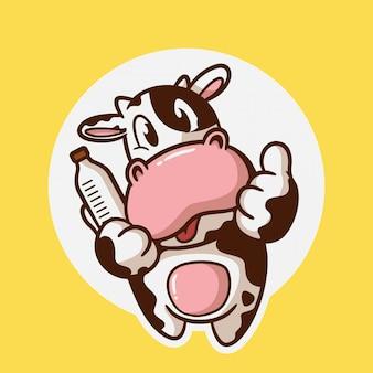 Modèle de logo de dessin animé mignon lait