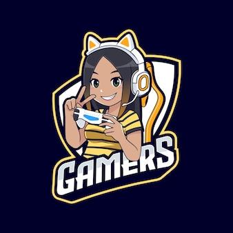 Modèle de logo de dessin animé mignon peau sombre gamer fille