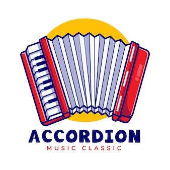 Modèle de logo de dessin animé de musique accordéon