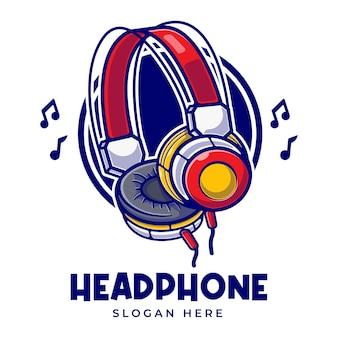 Modèle de logo de dessin animé de musique de casque