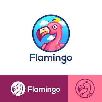 Modèle de logo de dessin animé oiseau flamant rose