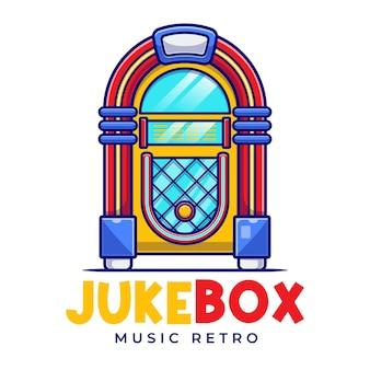 Modèle de logo de dessin animé rétro jukebox music