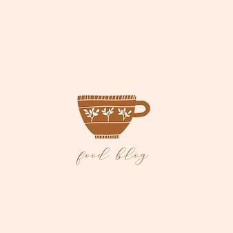 Modèle de logo dessiné à la main avec une tasse de thé au café et une texture florale design pour la barre de menu