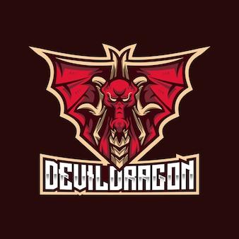 Modèle de logo devil dragon esport