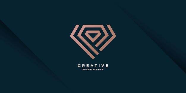 Modèle de logo diamant avec concept de ligne créative vecteur premium partie 6