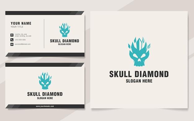 Modèle de logo de diamant de crâne sur le style de monogramme