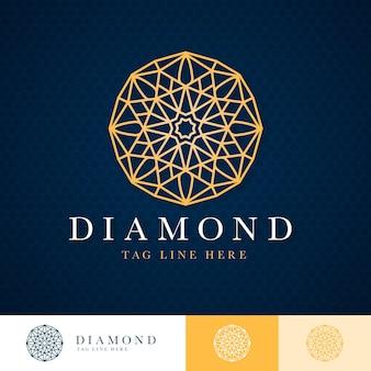 Modèle de logo diamant doré