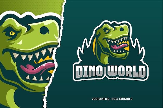 Modèle de logo dino world e-sport