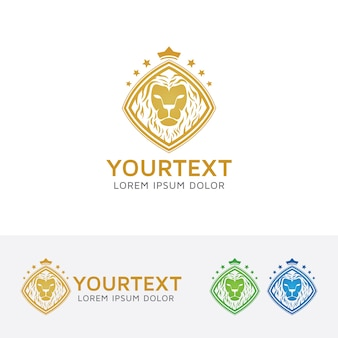Modèle de logo de divertissement lion