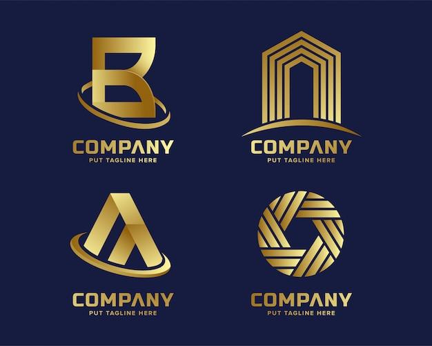 Modèle de logo doré d'affaires moderne