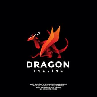 Modèle de logo dragon rouge moderne