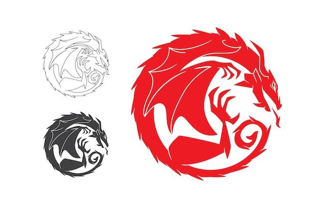 Modèle de logo de dragon rouge