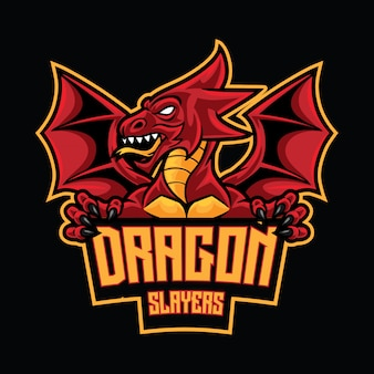 Modèle de logo dragon slayer esport
