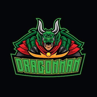 Modèle de logo dragon warrior esport