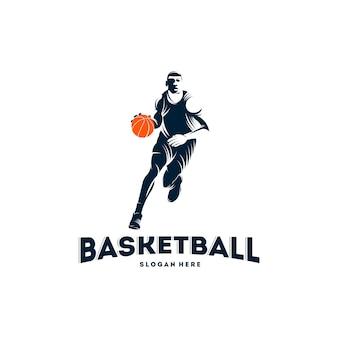 Modèle de logo dribble basketball player