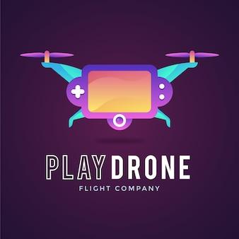 Modèle De Logo De Drone Dégradé Créatif Vecteur Premium