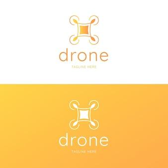 Modèle de logo de drone jaune créatif