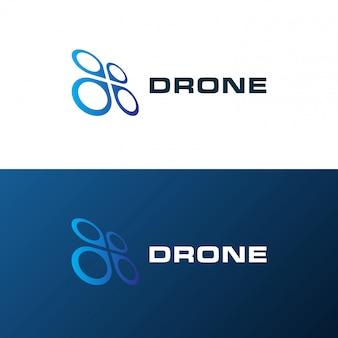 Modèle de logo de drone quadricoptère. design créatif