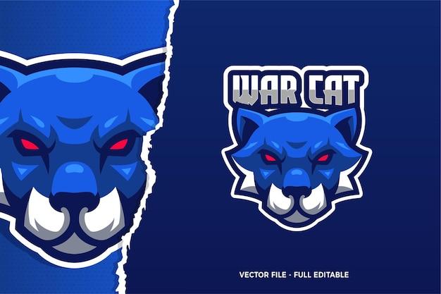Modèle de logo e-sport chat yeux rouges