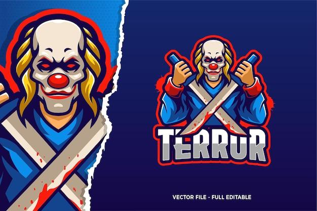Modèle de logo e-sport clown terror