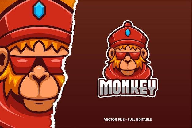 Modèle de logo e-sport cool monkey