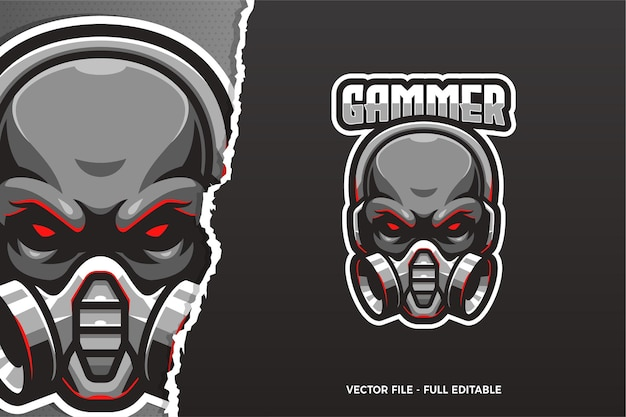 Modèle de logo e-sport crâne noir