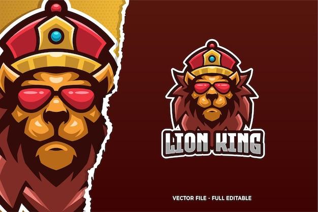 Modèle de logo e-sport du roi lion