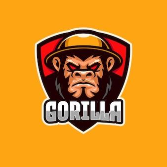 Modèle de logo e-sport gorilla en colère