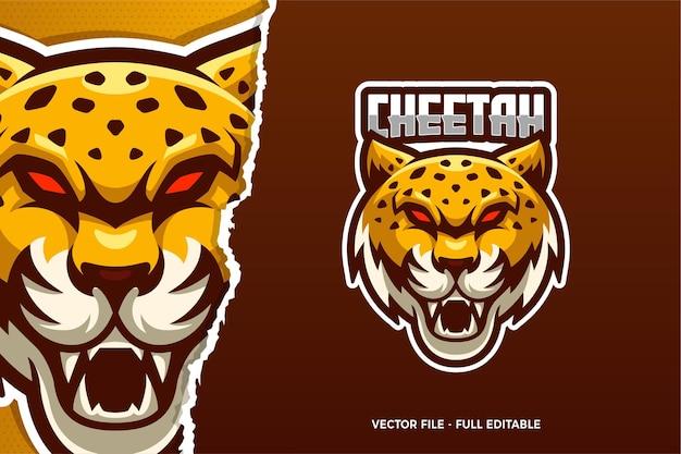 Modèle de logo e-sport guépard yeux rouges
