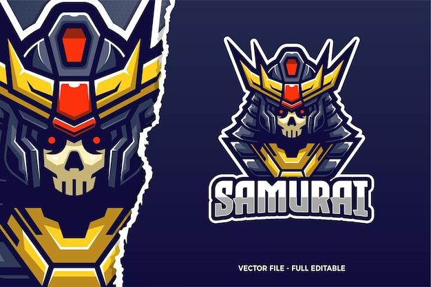 Modèle de logo e-sport king samurai