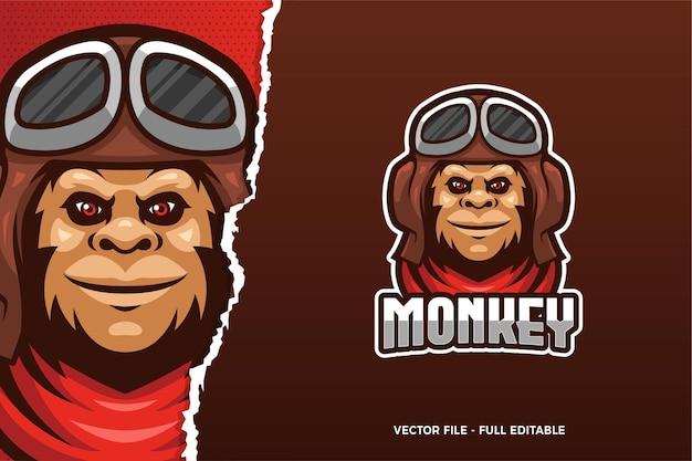 Modèle De Logo E-sport Monkey Pilot Vecteur Premium
