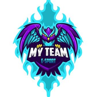 Modèle de logo e-sport owl dragon