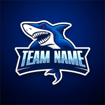 Modèle de logo e-sport de requin