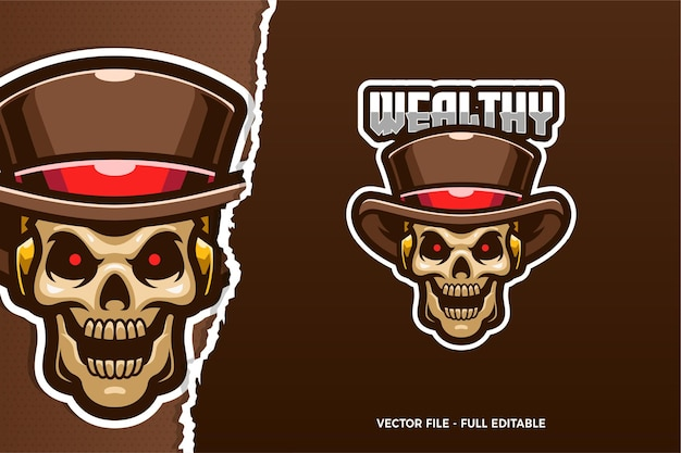 Modèle de logo e-sport rockabilly skull
