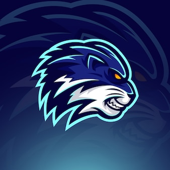 Modèle de logo e sport tête de lion bleu