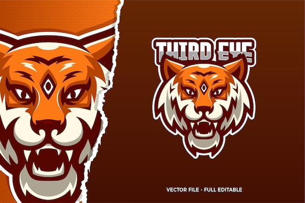 Modèle de logo e-sport third eye tiger