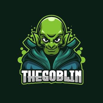 Modèle de logo e-sports goblin vert
