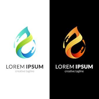 Modèle de logo eau et feuille