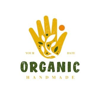 Modèle de logo eco main grunge isolé sur blanc