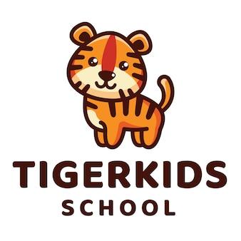 Modèle de logo d'école tiger kids